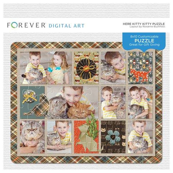Here Kitty Kitty Puzzle Digital Art - Digital Scrapbooking Kits