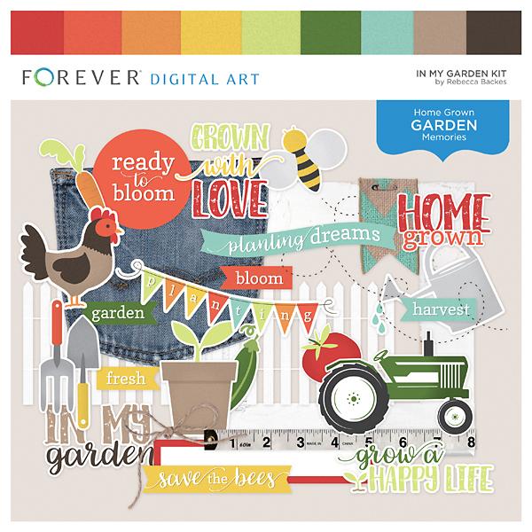In My Garden Kit Digital Art - Digital Scrapbooking Kits