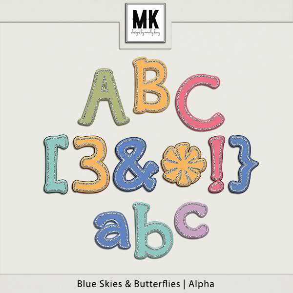 Blue Skies & Butterflies - Alpha Digital Art - Digital Scrapbooking Kits