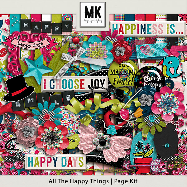 All The Happy Things - Page Kit Digital Art - Digital Scrapbooking Kits