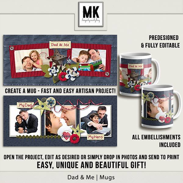Dad & Me Mugs - Predesigned And Editable Digital Art - Digital Scrapbooking Kits