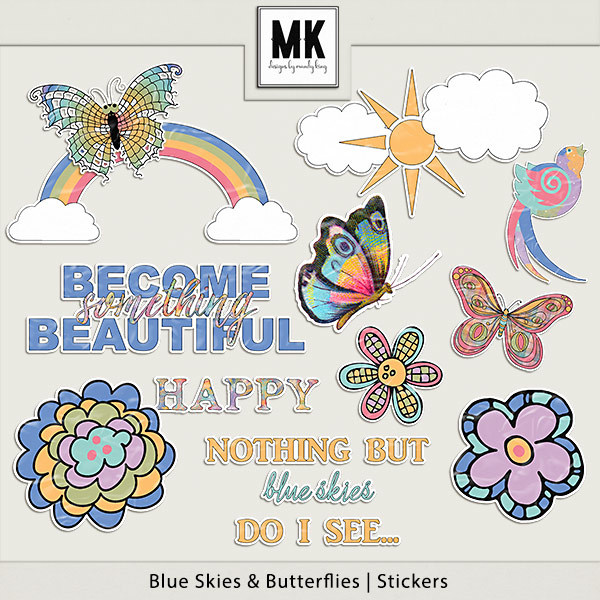 Blue Skies & Butterflies - Stickers