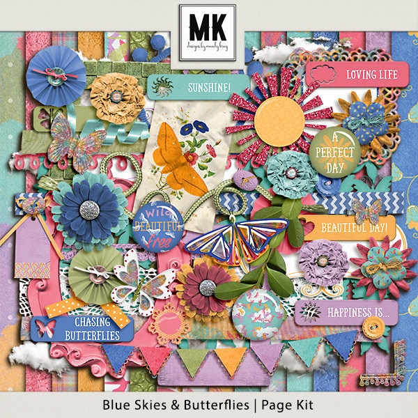 Blue Skies & Butterflies - Page Kit Digital Art - Digital Scrapbooking Kits