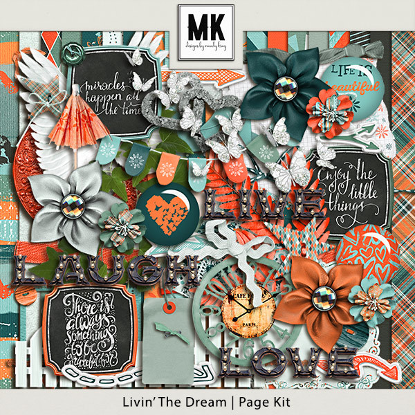 Livin The Dream - Page Kit Digital Art - Digital Scrapbooking Kits