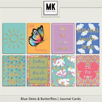 Blue Skies & Butterflies - Journal Cards