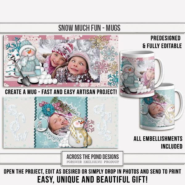 Snow Much Fun Mugs - Predesigned And Editable Digital Art - Digital Scrapbooking Kits