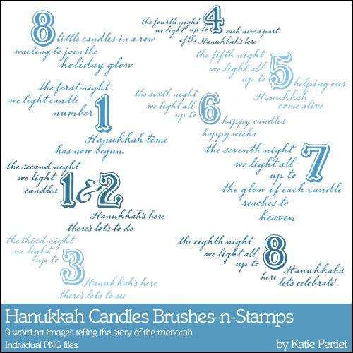 Hanukkah Candles Brushes And Stamps Digital Art - Digital Scrapbooking Kits