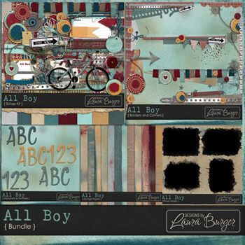 All Boy Bundled Collection Digital Art - Digital Scrapbooking Kits