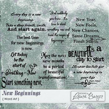 New Beginnings Word Art Digital Art - Digital Scrapbooking Kits