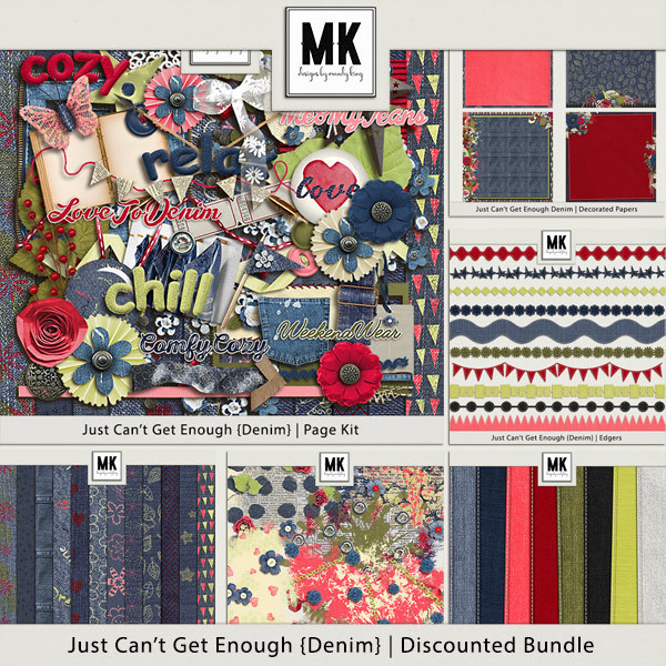 Just Can't Get Enough Denim - Discounted Bundle Digital Art - Digital Scrapbooking Kits