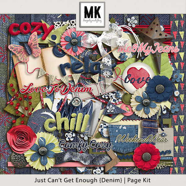 Just Can't Get Enough Denim - Page Kit Digital Art - Digital Scrapbooking Kits
