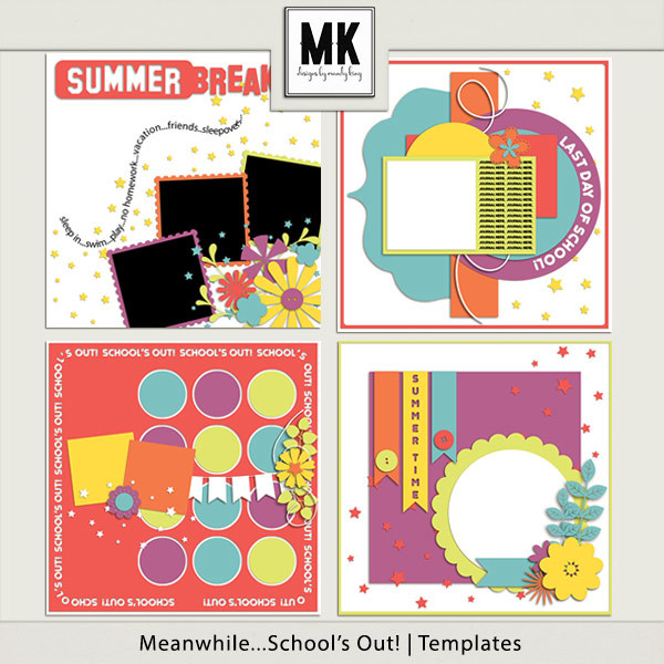 Meanwhile...school's Out - Templates Digital Art - Digital Scrapbooking Kits