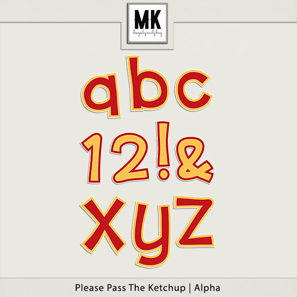 Please Pass The Ketchup - Alpha Digital Art - Digital Scrapbooking Kits