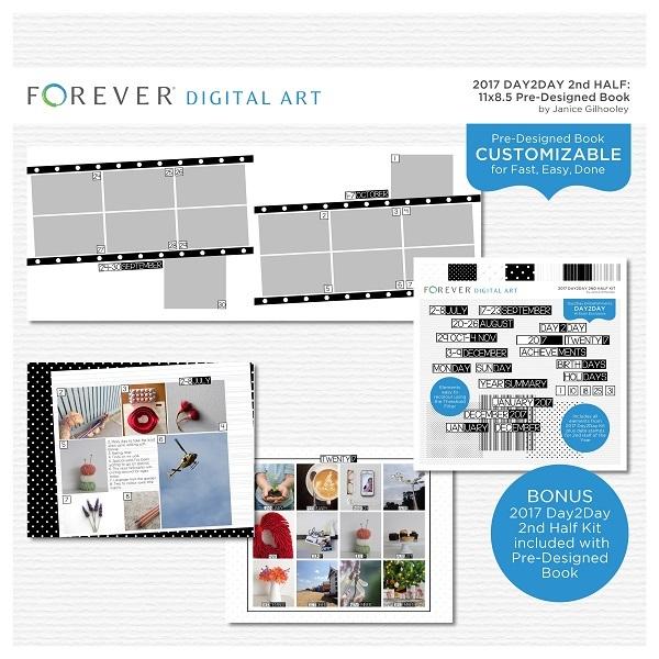 2017 Day2Day 2nd Half Pre-designed Book 11x8.5 Digital Art - Digital Scrapbooking Kits