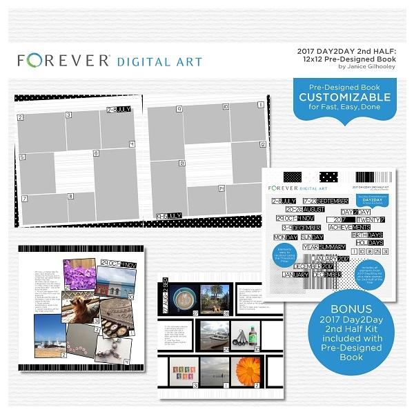 2017 Day2Day 2nd Half Pre-designed Book 12x12 Digital Art - Digital Scrapbooking Kits