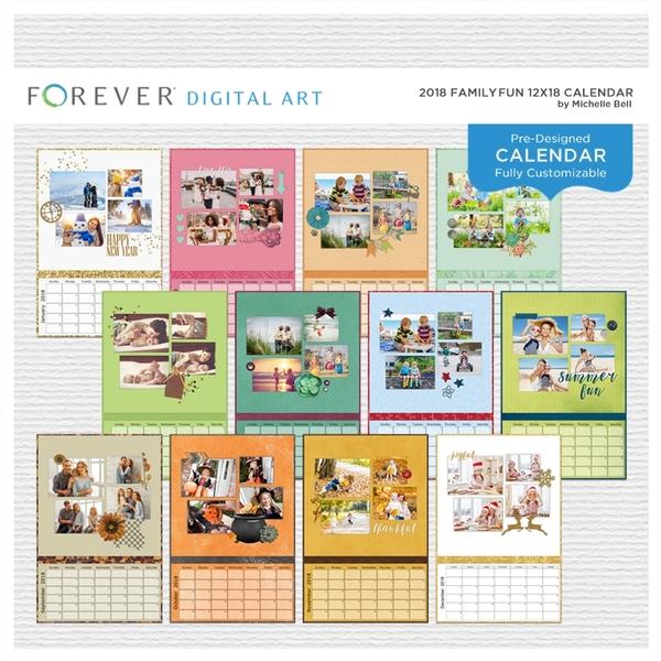 2018 Family Fun 12x18 Calendar Digital Art - Digital Scrapbooking Kits