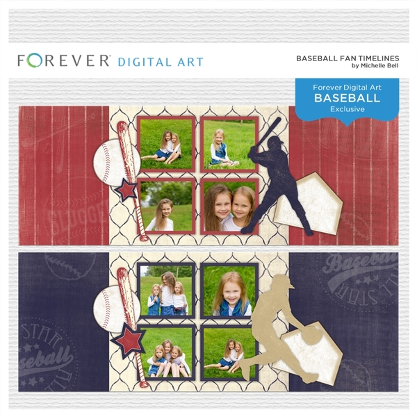 Baseball Fan Timelines Digital Art - Digital Scrapbooking Kits