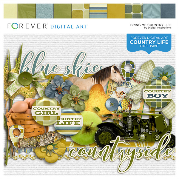 Bring Me Country Life Digital Art - Digital Scrapbooking Kits