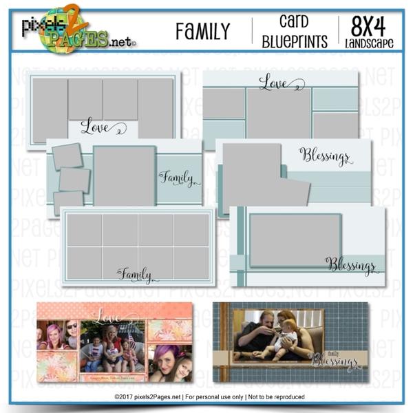 8x4 Card Blueprints - Family Digital Art - Digital Scrapbooking Kits
