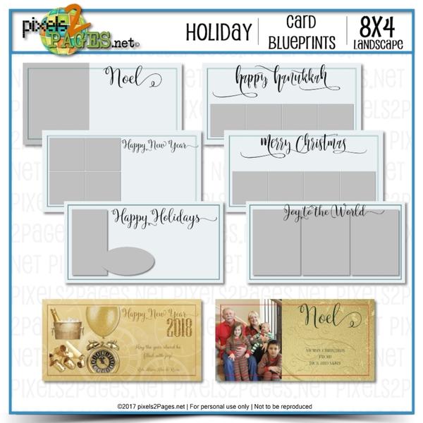 8x4 Card Blueprints - Holiday Digital Art - Digital Scrapbooking Kits