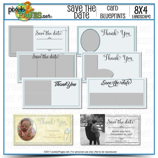 8x4 Card Blueprints - Save The Date Digital Art - Digital Scrapbooking Kits