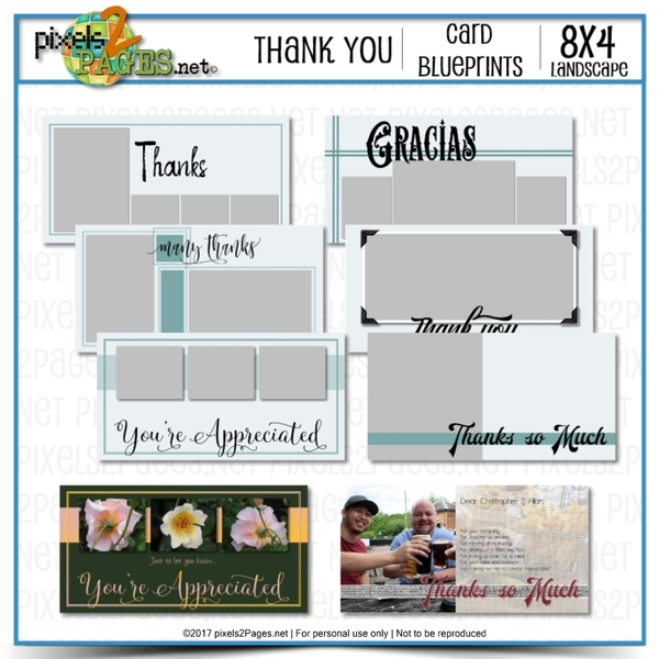 8x4 Card Blueprints - Thank You Digital Art - Digital Scrapbooking Kits