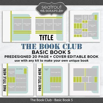 The Book Club - Basic Book 5 - Predesigned Editable Book Digital Art - Digital Scrapbooking Kits