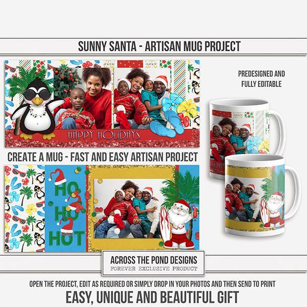 Sunny Santa Mugs - Predesigned And Editable Digital Art - Digital Scrapbooking Kits