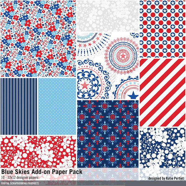 Blue Skies Add-on Paper Pack Digital Art - Digital Scrapbooking Kits