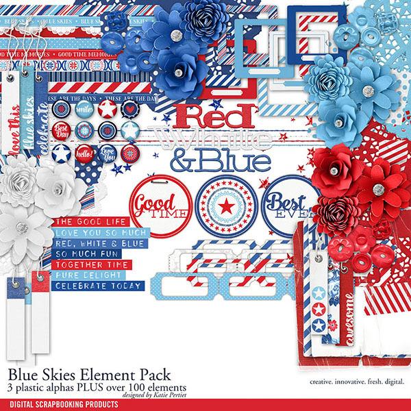 Blue Skies Element Pack Digital Art - Digital Scrapbooking Kits