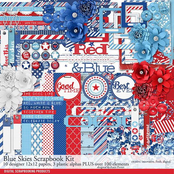 Blue Skies Scrapbook Kit Digital Art - Digital Scrapbooking Kits