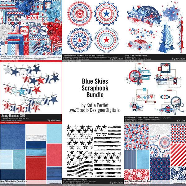 Blue Skies Scrapbooking Bundle Digital Art - Digital Scrapbooking Kits