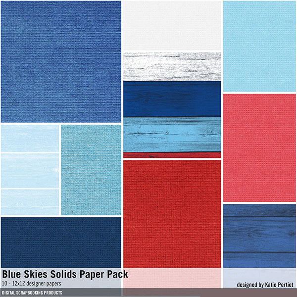 Blue Skies Solids Paper Pack Digital Art - Digital Scrapbooking Kits