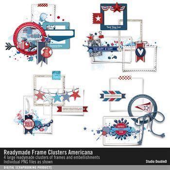 Readymade Frame Clusters Americana Digital Art - Digital Scrapbooking Kits