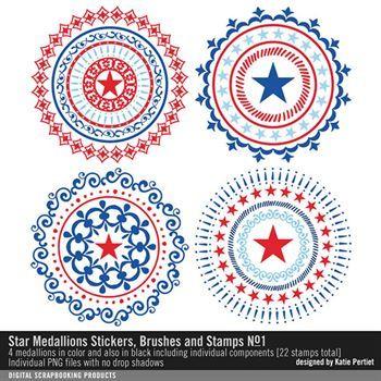 Star Medallions Brushes And Stamps No. 01 Digital Art - Digital Scrapbooking Kits