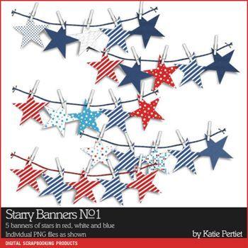 Starry Banners No. 01 Digital Art - Digital Scrapbooking Kits