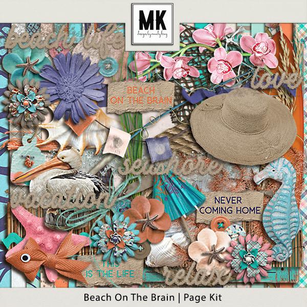 Beach On The Brain - Page Kit Digital Art - Digital Scrapbooking Kits