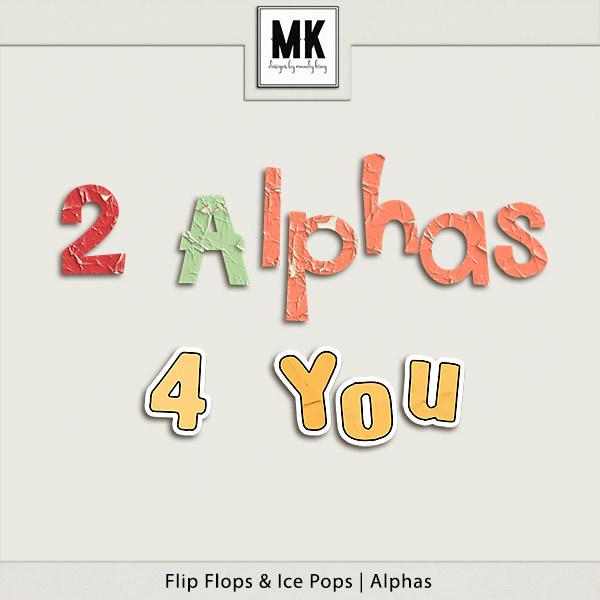 Flip Flops And Ice Pops - Alpha Digital Art - Digital Scrapbooking Kits