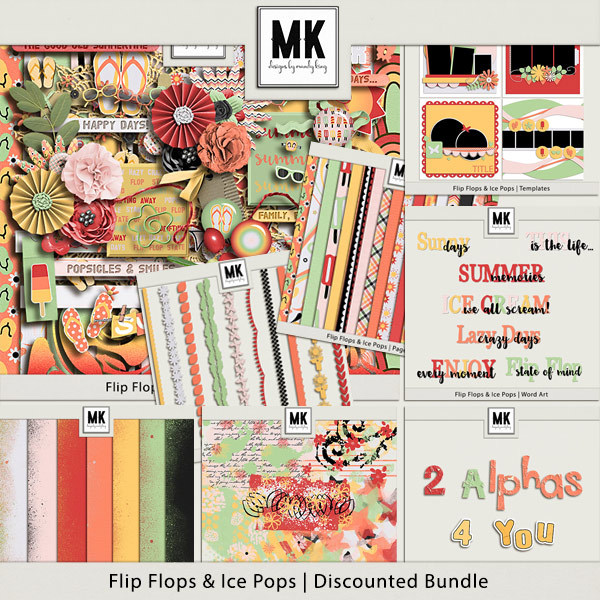 Flip Flops And Ice Pops - Discounted Bundle Digital Art - Digital Scrapbooking Kits