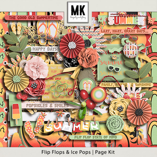 Flip Flops And Ice Pops - Page Kit Digital Art - Digital Scrapbooking Kits