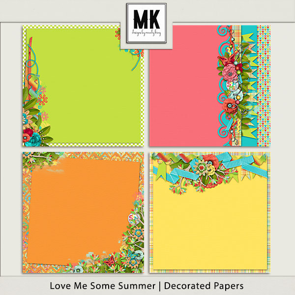 Love Me Some Summer - Decorated Papers Digital Art - Digital Scrapbooking Kits