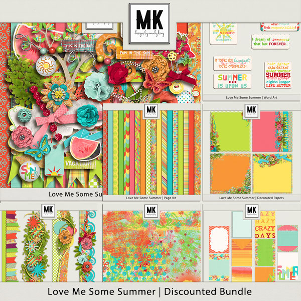 Love Me Some Summer - Discounted Bundle Digital Art - Digital Scrapbooking Kits