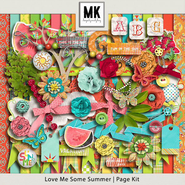 Love Me Some Summer - Page Kit Digital Art - Digital Scrapbooking Kits