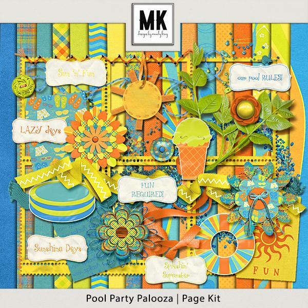 Pool Party Palooza - Page Kit Digital Art - Digital Scrapbooking Kits