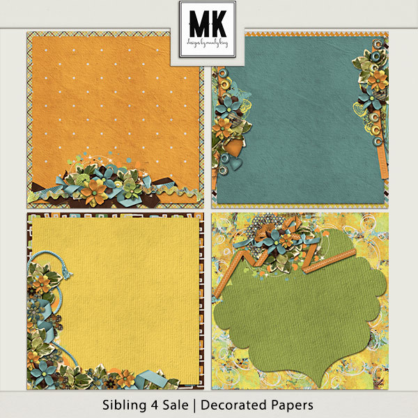 Sibling 4 Sale - Decorated Papers Digital Art - Digital Scrapbooking Kits