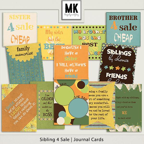 Sibling 4 Sale - Journal Cards Digital Art - Digital Scrapbooking Kits