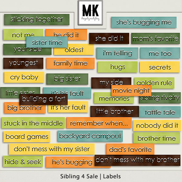 Sibling 4 Sale - Labels Digital Art - Digital Scrapbooking Kits