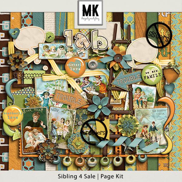 Sibling 4 Sale - Page Kit Digital Art - Digital Scrapbooking Kits