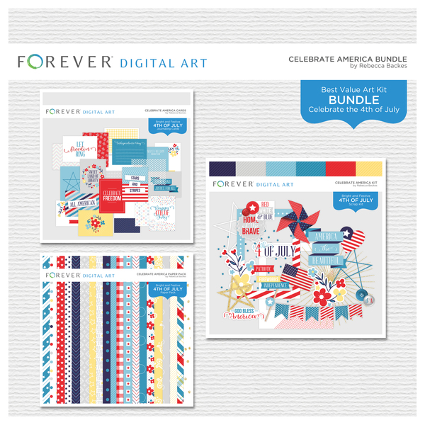 Celebrate America Bundle Digital Art - Digital Scrapbooking Kits