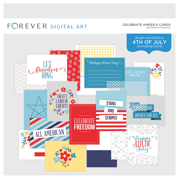 Celebrate America Cards Digital Art - Digital Scrapbooking Kits